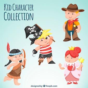 Variedade de crianças vestindo trajes