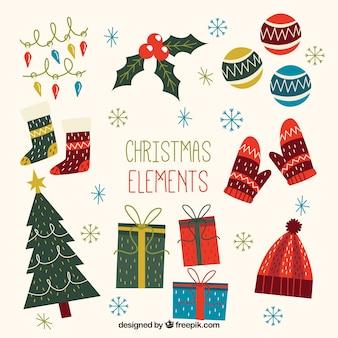 Variedade de decoração de natal vintage