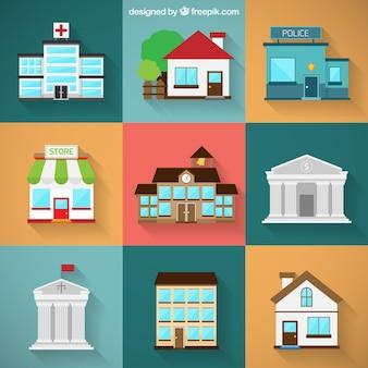 Variedade de edifícios da cidade