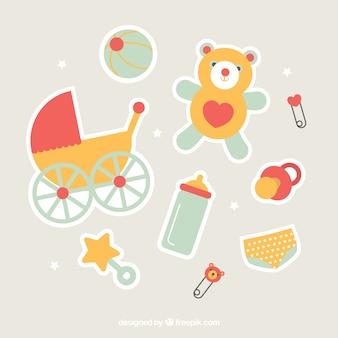 Variedade de elementos bonitos do bebê