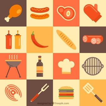 Variedade de elementos churrasco em design plano