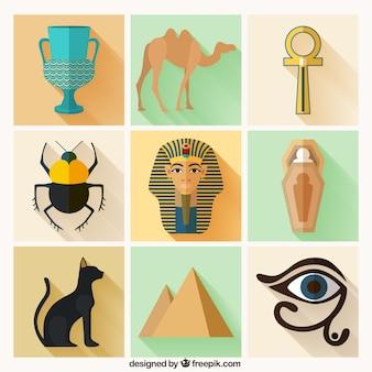 Variedade de elementos da cultura egípcia
