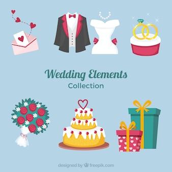 Variedade de elementos de casamento plana