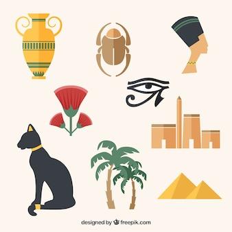 Variedade de elementos de cultura egípcia