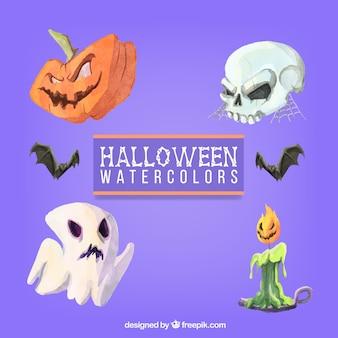 Variedade de elementos de Halloween no estilo da aguarela