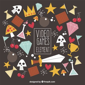 Variedade de elementos de jogos de vídeo em estilo plano