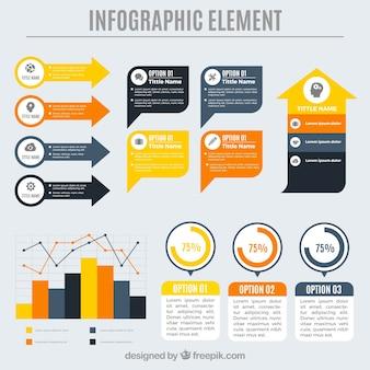 Variedade de elementos decorativos coloridos para infografia