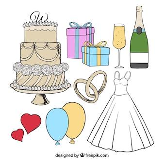 Variedade de elementos desenhados à mão para o casamento