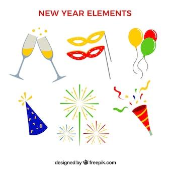 Variedade de elementos do ano novo em design plano