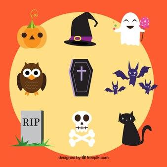 Variedade de elementos e personagens de Halloween