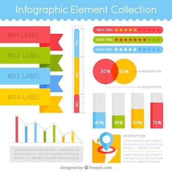 Variedade de elementos infográficos coloridos