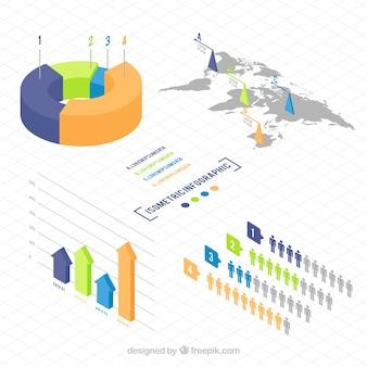 Variedade de elementos infográficos isométricos