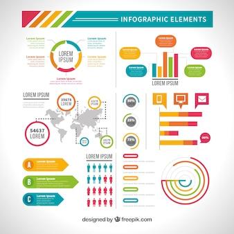 Variedade de elementos infográficos úteis em design plano