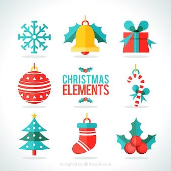 Variedade de elementos planos de natal