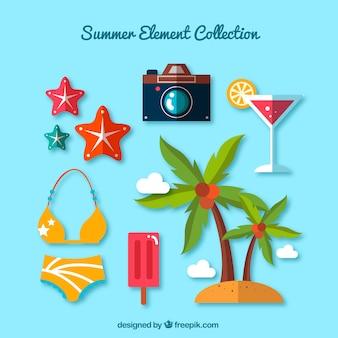 Variedade de elementos planos de verão