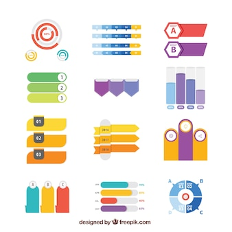 Variedade de elementos planos para infografia
