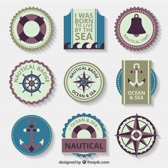 Variedade de emblemas náuticas no estilo do vintage
