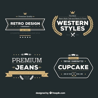 Variedade de emblemas retro