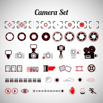 Variedade de equipamentos de câmera