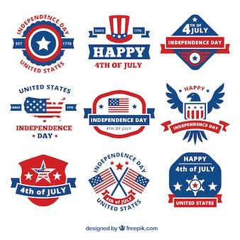 Variedade de etiquetas decorativas para o dia da independência