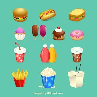 Variedade de fast food