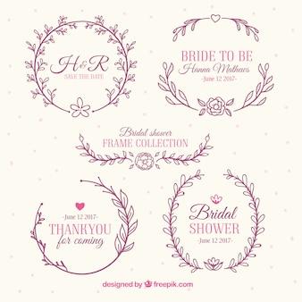 Variedade de frames bonitos do chá de panela com decoração floral