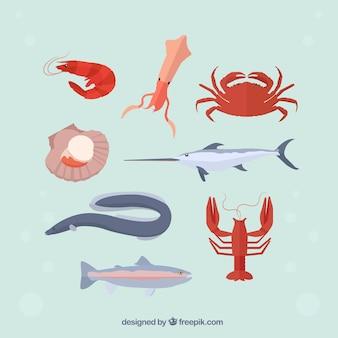 Variedade de frutos do mar