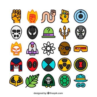 Variedade de ícones coloridos super-heróis
