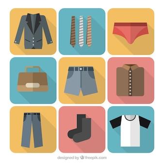 Variedade de ícones de roupas masculinas