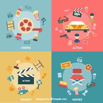 Variedade de ícones do cinema