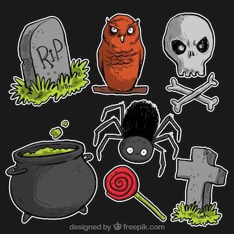 Variedade de ilustrações do dia das bruxas