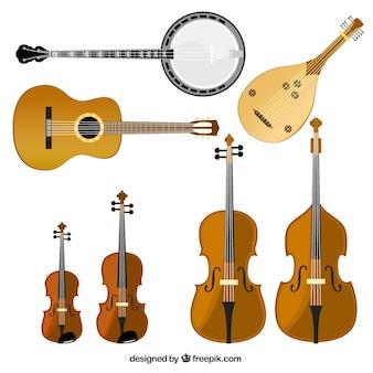 Variedade de instrumentos de cordas
