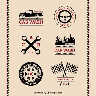 Variedade de logos carro retro com detalhes vermelhos