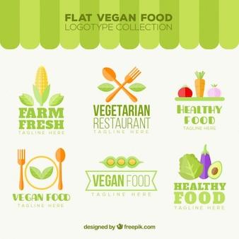 Variedade de logotipos de alimentos vegan planas