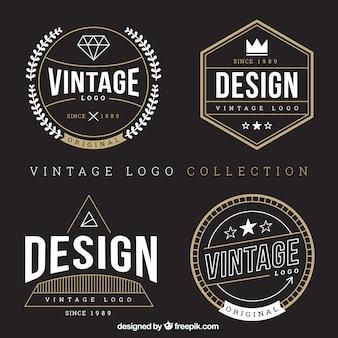 Variedade de logotipos do vintage com detalhes dourados