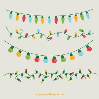 Variedade de luzes de Natal coloridas