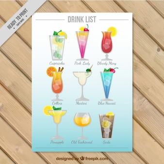 Variedade de modelo de bebidas de verão