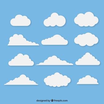 Variedade de nuvens brancas no design plano