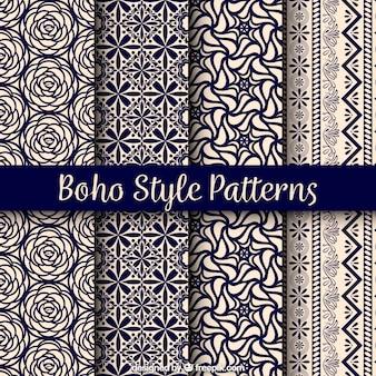 Variedade de padrões boho com belos desenhos