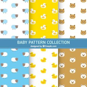 Variedade de padrões de bebê com animais bonitos