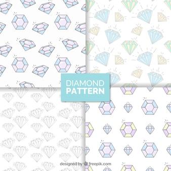 Variedade de padrões de diamante no design plano