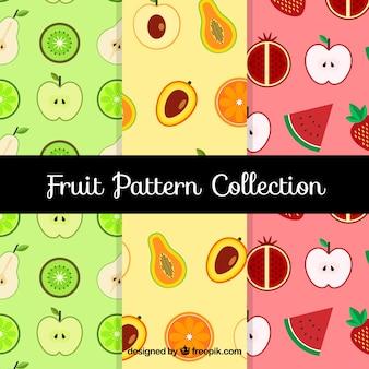 Variedade de padrões de frutas planas