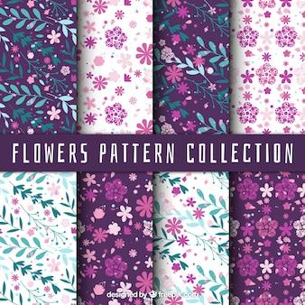 Variedade de padrões fantásticas com flores e folhas