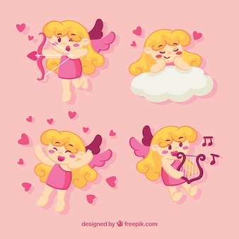 Variedade de personagens Cupido bonito