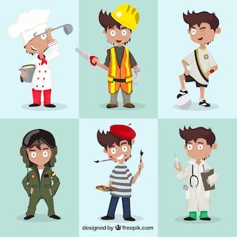 Variedade de personagens profissionais