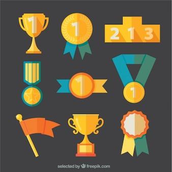 Variedade de prêmios dourados