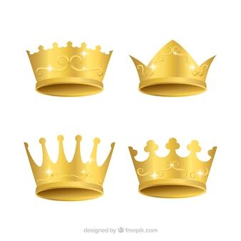 Variedade de quatro coroas de ouro em design realista