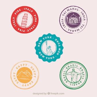 Variedade de selos coloridos da cidade
