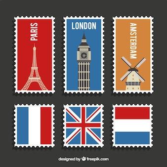 Variedade de selos postais de diferentes países