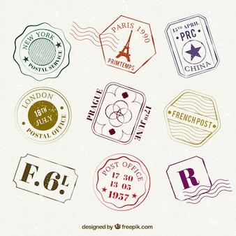 Variedade de selos viagem plana coloridos